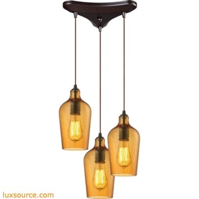 Hammered Glass 3 Light Pendant In Oil Rubbed Bronze And Amber Glass 10331/3HAMB