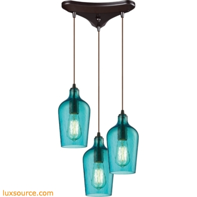 Hammered Glass 3 Light Pendant In Oil Rubbed Bronze And Aqua Glass 10331/3HAQ