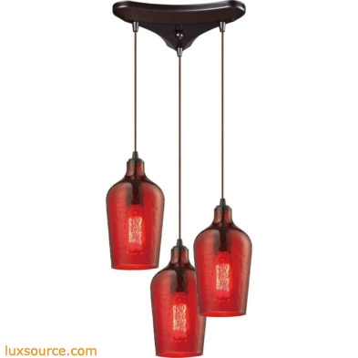 Hammered Glass 3 Light Pendant In Oil Rubbed Bronze And Red Glass 10331/3HRD