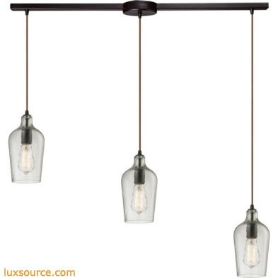 Hammered Glass 3 Light Pendant In Oil Rubbed Bronze And Clear Glass 10331/3L-CLR