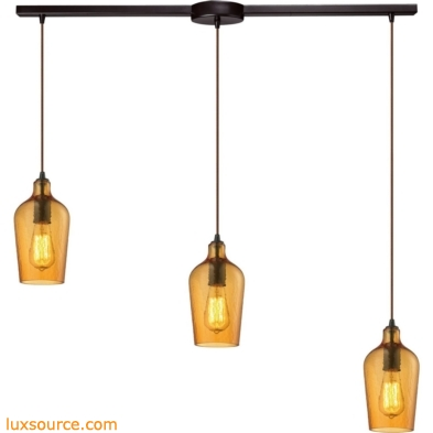 Hammered Glass 3 Light Pendant In Oil Rubbed Bronze And Amber Glass 10331/3L-HAMB