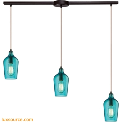 Hammered Glass 3 Light Pendant In Oil Rubbed Bronze And Aqua Glass 10331/3L-HAQ
