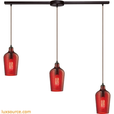 Hammered Glass 3 Light Pendant In Oil Rubbed Bronze And Red Glass 10331/3L-HRD