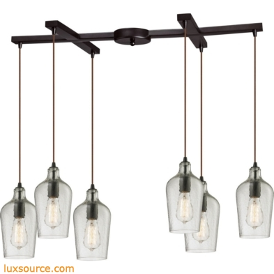 Hammered Glass 6 Light Pendant In Oil Rubbed Bronze And Clear Glass 10331/6CLR