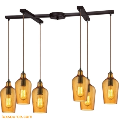 Hammered Glass 6 Light Pendant In Oil Rubbed Bronze And Amber Glass 10331/6HAMB