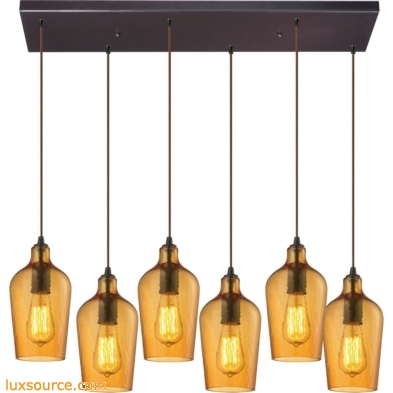Hammered Glass 6 Light Pendant In Oil Rubbed Bronze And Amber Glass 10331/6RC-HAMB
