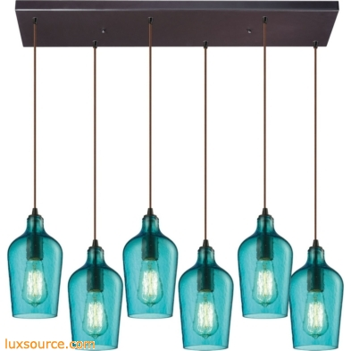 Hammered Glass 6 Light Pendant In Oil Rubbed Bronze And Aqua Glass 10331/6RC-HAQ