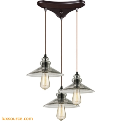 Hammered Glass 3 Light Pendant In Oil Rubbed Bronze 10332/3