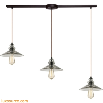 Hammered Glass 3 Light Pendant In Oil Rubbed Bronze 10332/3L