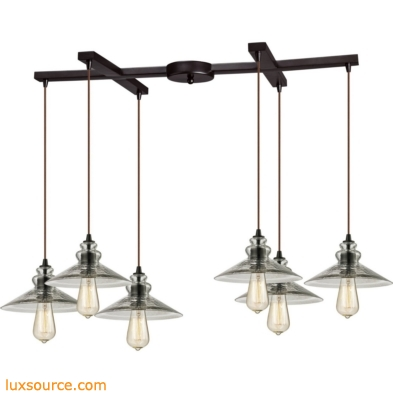Hammered Glass 6 Light Pendant In Oil Rubbed Bronze 10332/6