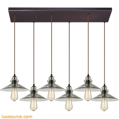 Hammered Glass 6 Light Pendant In Oil Rubbed Bronze 10332/6RC