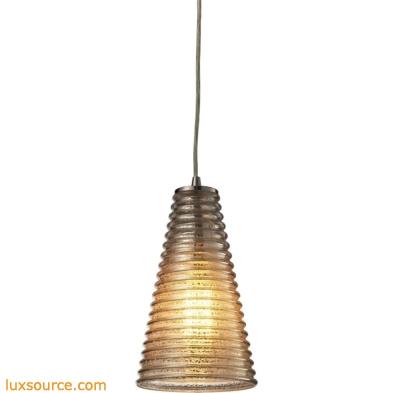 Ribbed Glass 1 Light Mini Pendant In Satin Nickel And Mercury Glass 10333/1