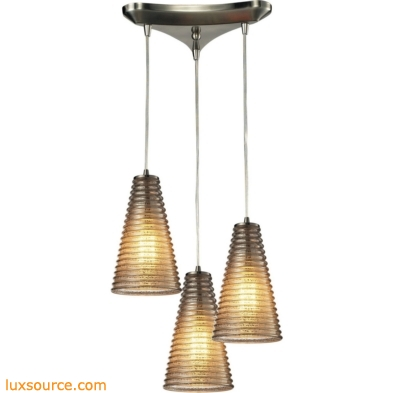 Ribbed Glass 3 Light Pendant In Satin Nickel And Mercury Glass 10333/3