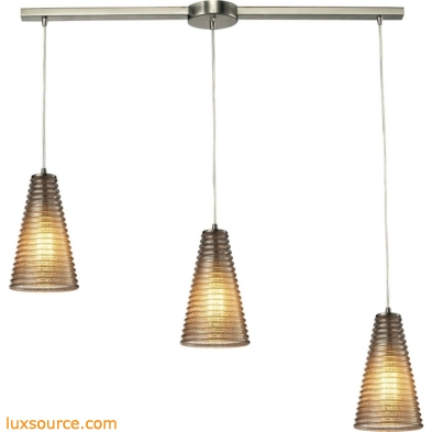 Ribbed Glass 3 Light Pendant In Satin Nickel And Mercury Glass 10333/3L