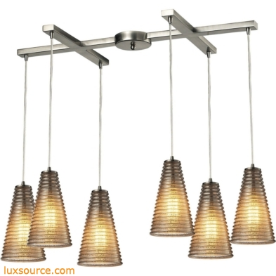 Ribbed Glass 6 Light Pendant In Satin Nickel And Mercury Glass 10333/6