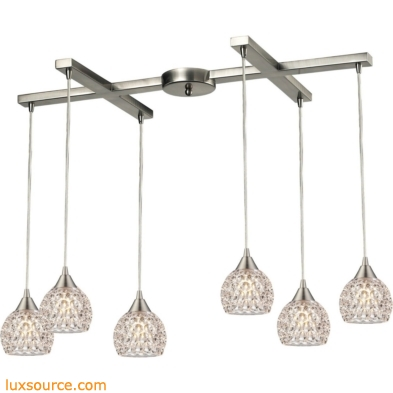 Kersey 6 Light Pendant In Satin Nickel 10341/6