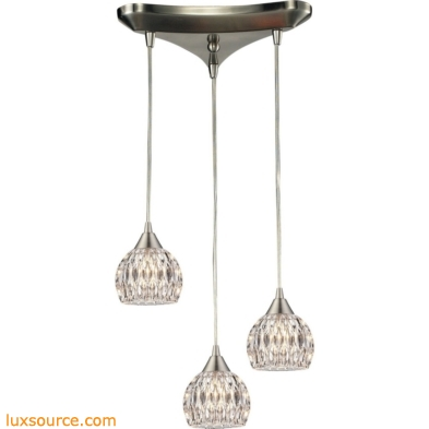 Kersey 3 Light Pendant In Satin Nickel 10342/3