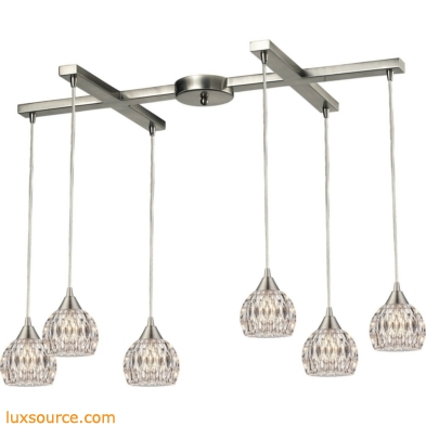 Kersey 6 Light Pendant In Satin Nickel 10342/6