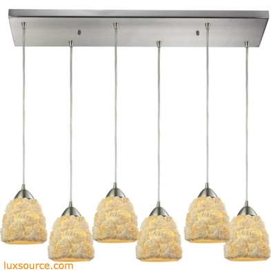 Shells 6 Light Pendant In Satin Nickel 10414/6RC
