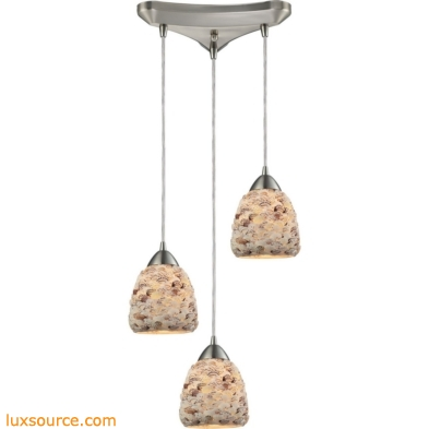 Shells 3 Light Pendant In Satin Nickel 10415/3