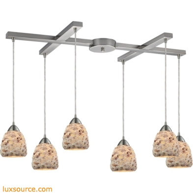 Shells 6 Light Pendant In Satin Nickel 10415/6