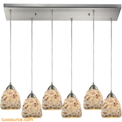 Shells 6 Light Pendant In Satin Nickel 10415/6RC