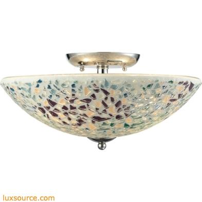 Glass Mosaic 3 Light Semi Flush In Satin Nickel 10418/3
