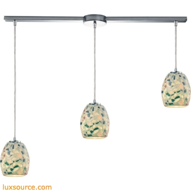 Glass Mosaic 3 Light Pendant In Polished Chrome 10419/3L