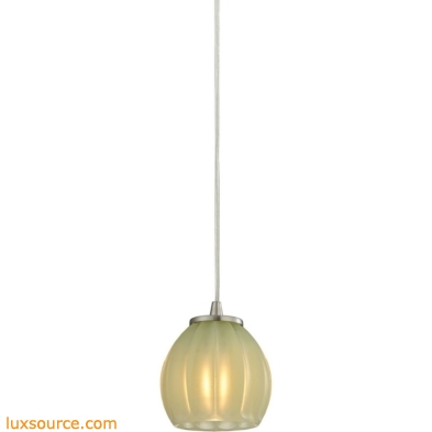 Melony 1 Light Pendant In Satin Nickel And Jade Glass 10421/1JD