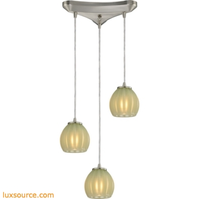 Melony 3 Light Pendant In Satin Nickel And Jade Glass 10421/3JD