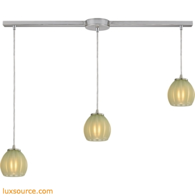 Melony 3 Light Pendant In Satin Nickel And Jade Glass 10421/3L-JD