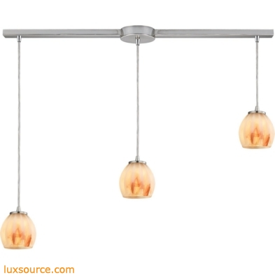 Melony 3 Light Pendant In Satin Nickel And Frosted Glass 10421/3L-TS