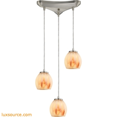 Melony 3 Light Pendant In Satin Nickel And Frosted Glass 10421/3TS