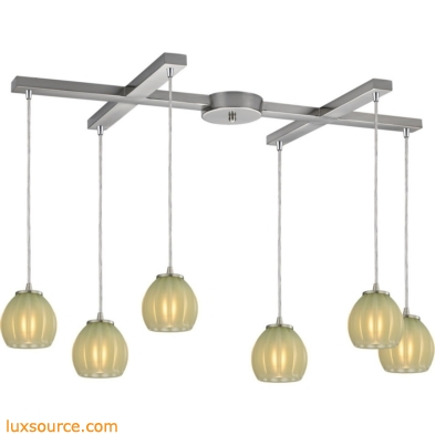 Melony 6 Light Pendant In Satin Nickel And Jade Glass 10421/6JD