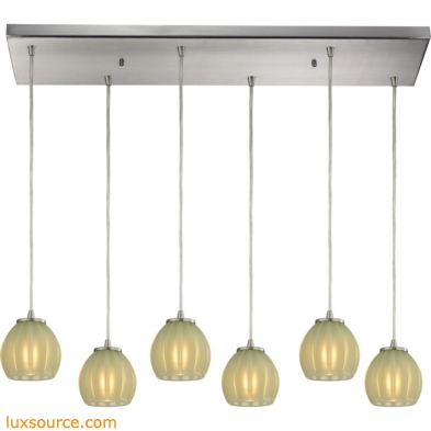 Melony 6 Light Pendant In Satin Nickel And Jade Glass 10421/6RC-JD