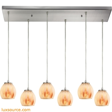 Melony 6 Light Pendant In Satin Nickel And Frosted Glass 10421/6RC-TS