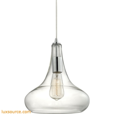 Orbital 1 Light Pendant In Polished Chrome And Clear Glass 10422/1