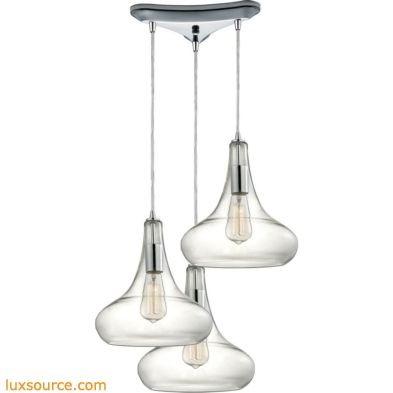 Orbital 3 Light Pendant In Polished Chrome And Clear Glass 10422/3