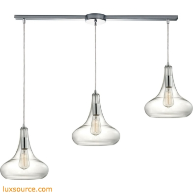 Orbital 3 Light Pendant In Polished Chrome And Clear Glass 10422/3L