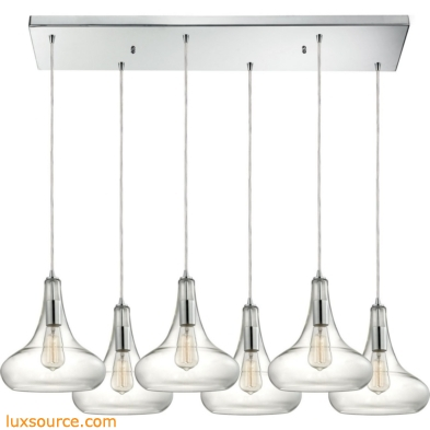 Orbital 6 Light Pendant In Polished Chrome And Clear Glass 10422/6RC