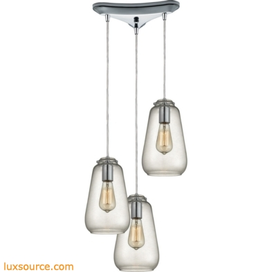 Orbital 3 Light Pendant In Polished Chrome And Clear Glass 10423/3