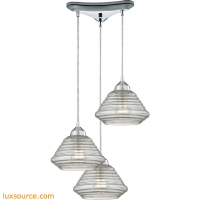 Orbital 3 Light Pendant In Polished Chrome And Clear Glass 10424/3