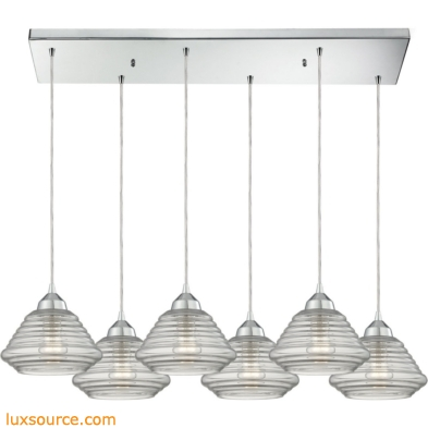 Orbital 6 Light Pendant In Polished Chrome And Clear Glass 10424/6RC