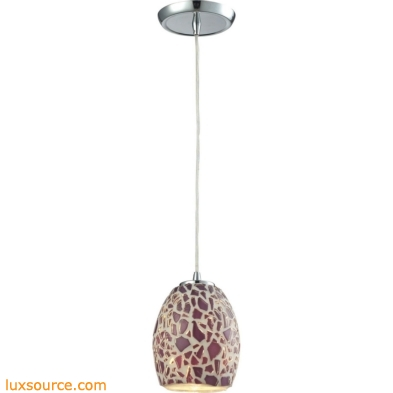 Glass Mosaic 1 Light Pendant In Polished Chrome 10429/1
