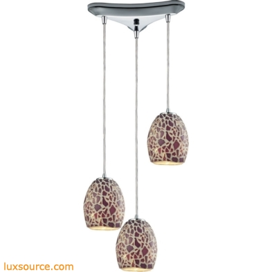 Orbital - Glass Mosaic 3 Light Pendant In Polished Chrome 10429/3