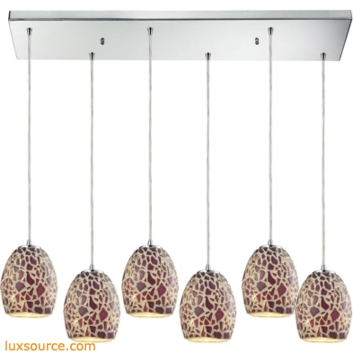 Orbital - Glass Mosaic 6 Light Pendant In Polished Chrome 10429/6RC