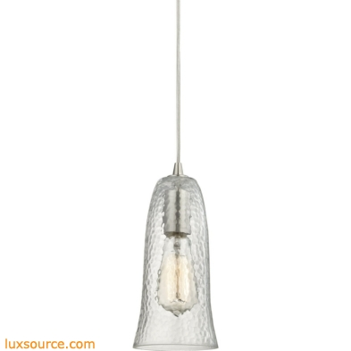 Hammered Glass 1 Light Pendant In Satin Nickel 10431/1CLR