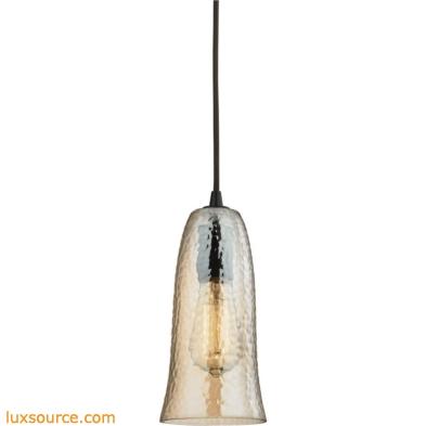Hammered Glass 1 Light Pendant In Oil Rubbed Bronze 10431/1HAMP