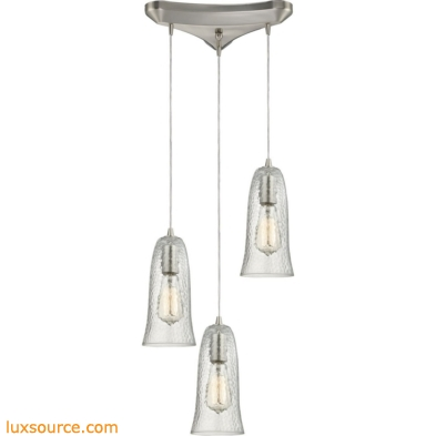 Hammered Glass 3 Light Pendant In Satin Nickel 10431/3CLR