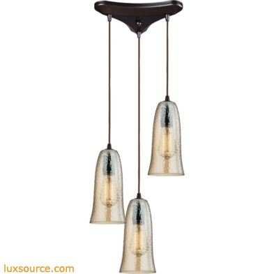 Hammered Glass 3 Light Pendant In Oil Rubbed Bronze 10431/3HAMP